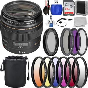 Canon EF 100mm f/2 USM Lens - 2518A003 with Deluxe Lens Bundle