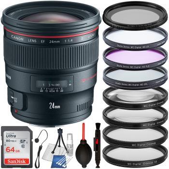 Canon EF 24mm f/1.4L II USM Lens - 2750B002 & Essential Accessory Bund