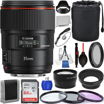 Canon EF 35mm f/1.4L II USM Lens - 9523B002 with Accessory Bundle