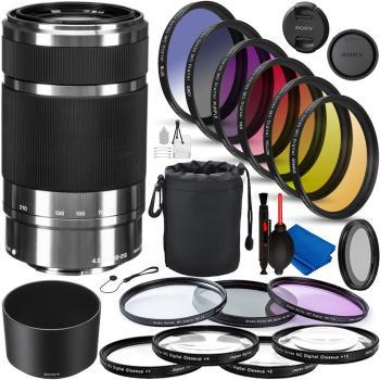 Sony E 55-210mm f/4.5-6.3 OSS - SEL55210 Professional Lens Bundle (Sil