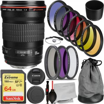 Canon EF 135mm f/2L USM Lens - 2520A004 with Essential Accessory Bundl
