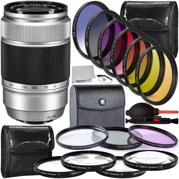 FUJIFILM XC 50-230mm f/4.5-6.7 OIS II Lens (Silver) - 16460795 with Accessory Bundle