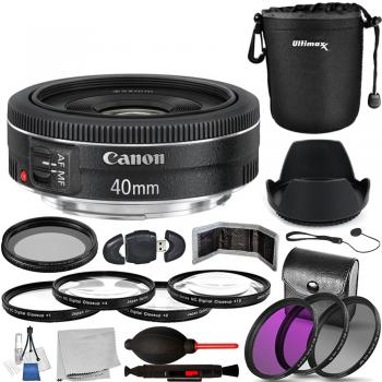 Canon EF 40mm f/2.8 STM Lens - 6310B002 with Accessory Bundle