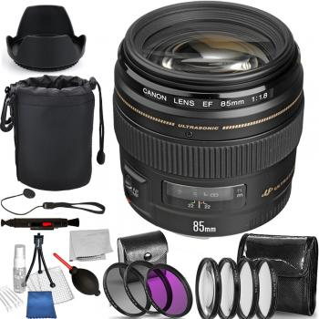 Canon EF 85mm f/1.8 USM Lens - 2519A003 with Deluxe Bundle