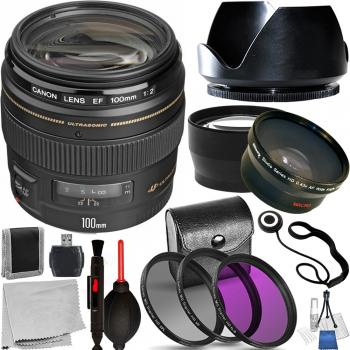 Canon EF 100mm f/2 USM Lens - 2518A003 with Essential Accessory Bundle