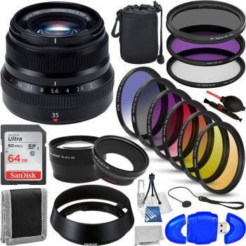 FujiFilm XF 35mm F/2 R WR Lens (Black) - 16481878 with Accessory Bundl