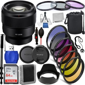 Sony FE 85mm f/1.8 Lens - SEL85F18/2 Must Have Bundle