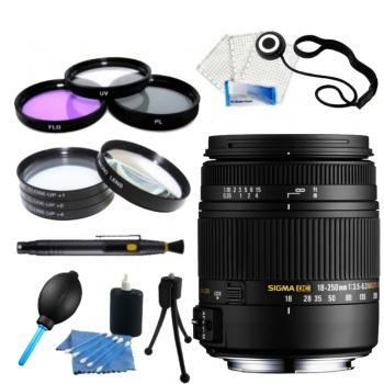 Sigma 18-250mm F3.5-6.3 DC Macro OS HSM for Nikon F Mount + Accessory Bundle