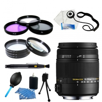 Sigma 18-250mm f/3.5-6.3 DC OS HSM Autofocus Zoom Lens For Pentax Cameras + Accessory Bundle