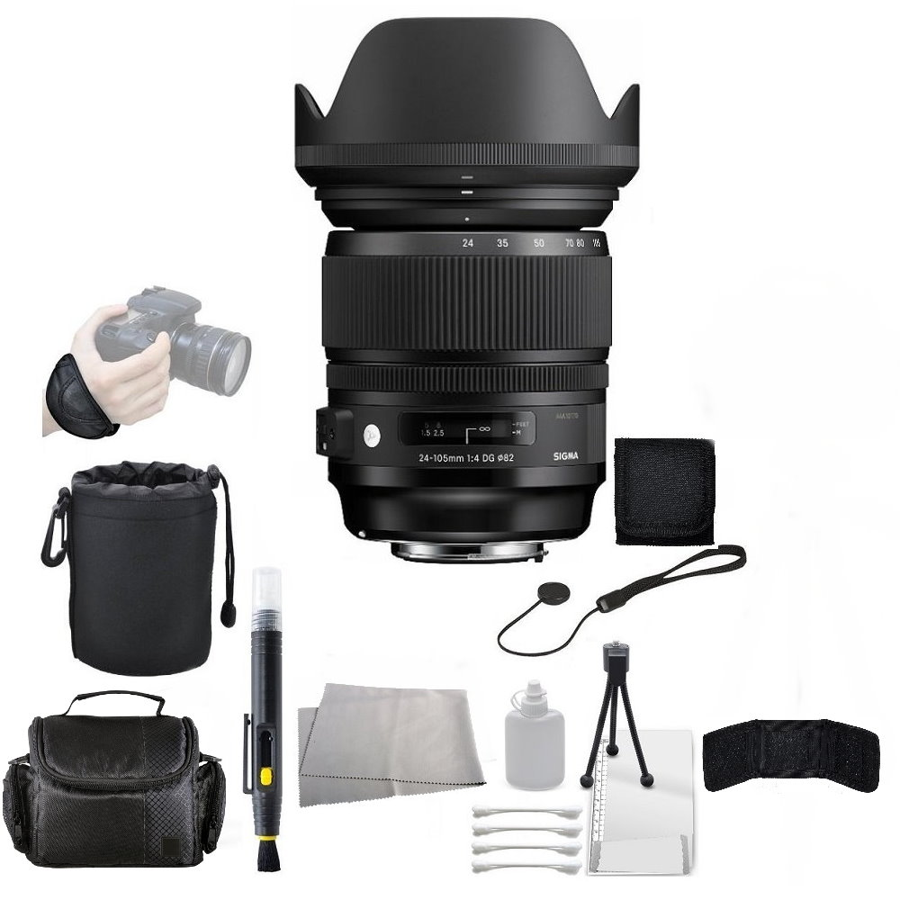 Sigma 24-105mm F/4 DG OS HSM Lens for Canon DSLR Cameras + Accessory Bundle