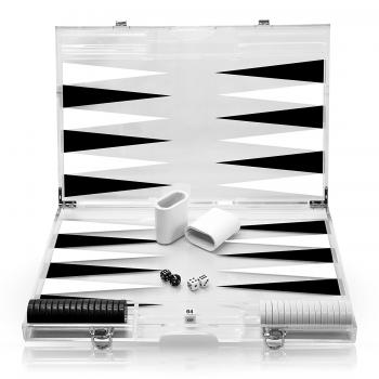 Rolling 66 18-Inch Lucite Deluxe Backgammon Set (Black)