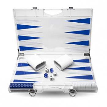 Rolling 66 13-Inch Lucite Deluxe Backgammon Set (Blue)