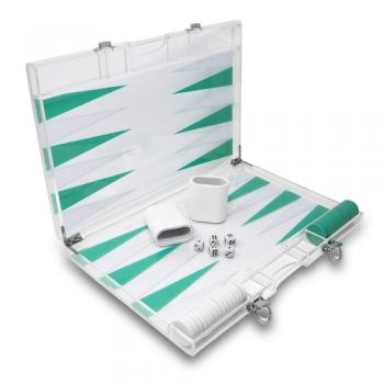Rolling 66 16-Inch Lucite Deluxe Backgammon Set (Turquoise)